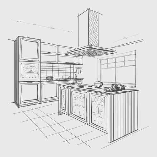 projektowanie kuchni rysunek projekt